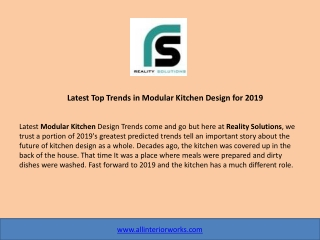 Latest Top Trends in Modular Kitchen Design for 2019 - Reality Solutions