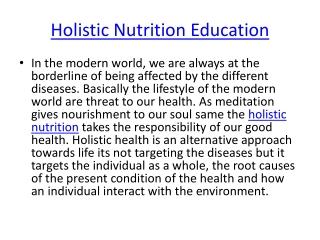 Holistic Nutrition Benefit|Holistic Nutrition education