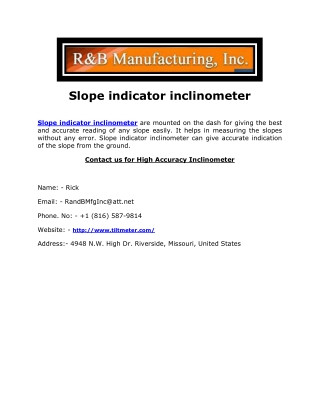 Slope indicator inclinometer