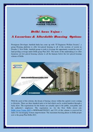 Delhi Awas Yojna - A Luxurious & Affordable Housing Options