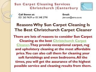 Reasons Why Sun Carpet Cleaning Is The Best Christchurch Carpet Cleaner