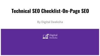 Technical seo checklist on-page seo