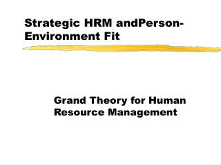 Strategic HRM andPerson-Environment Fit