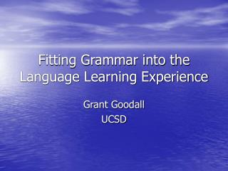 Fitting Grammar into the Language Learning Experience