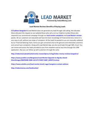 Lead Market Reviews Benefits of Buying Leads