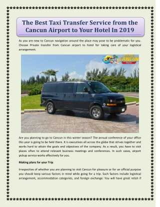 The Best Taxi Transfer Service from the Cancun Airport to Your Hotel In 2019