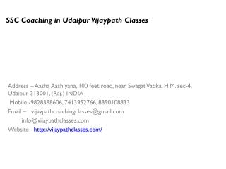 SSC Coaching in Udaipur Vijaypath Classes
