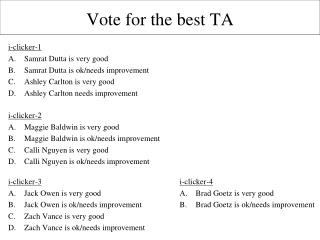 Vote for the best TA
