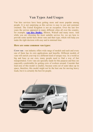 Van Types And Usages