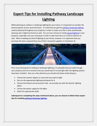 Expert Tips for Installing Pathway Landscape Lighting