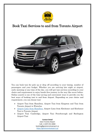 Book Taxi Services to and from Toronto Airport