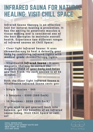 Infrared Sauna for Natural Healing: Visit Chill Space