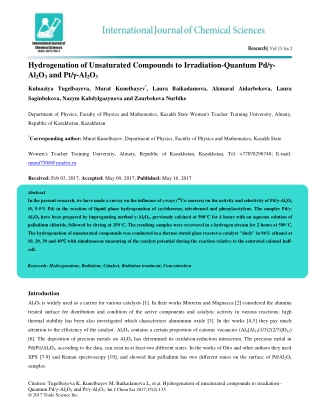 Hydrogenation of Unsaturated Compounds to Irradiation-Quantum Pd/- Al2O3 and Pt/-Al2O3