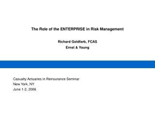 The Role of the ENTERPRISE in Risk Management  Richard Goldfarb, FCAS Ernst & Young