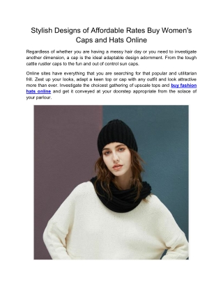Stylish Designs of Affordable Rates Buy Women's Caps and Hats Online