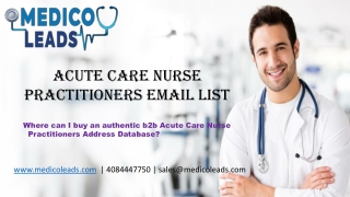 Acute Care Nurse Practitioners Email List