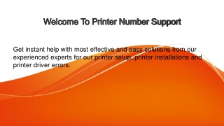 welcome to printer number support