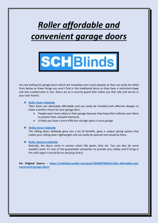 Roller affordable and convenient garage doors