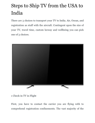 Steps to Ship TV from the USA to India