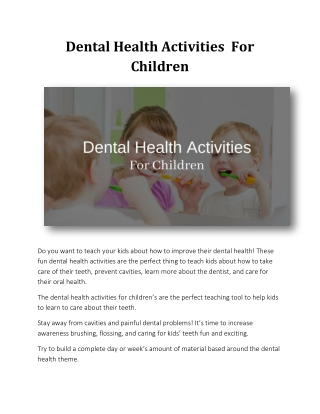 Dental Health Activities  For Children