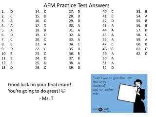 AFM Practice Test Answers