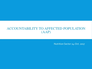 Accountability to Affected population (AAP)