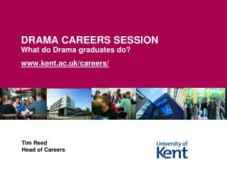 DRAMA CAREERS SESSION What do Drama graduates do   kent.ac.uk