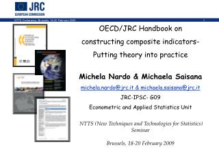 OECD/JRC Handbook on  constructing composite indicators-   Putting theory into practice Michela Nardo & Michaela Sai