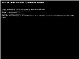 Bpi A Hd Anti Aromatase Testosterone Booster