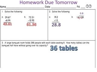 Homework Due Tomorrow