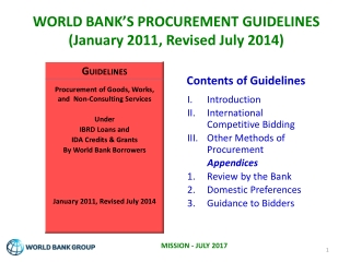 WORLD BANK'S PROCUREMENT GUIDELINES (January 2011, Revised July 2014)