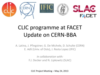 CLIC programme at FACET Update on CERN-BBA