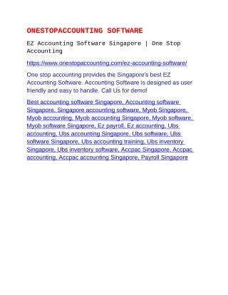 EZ Accounting Software Singapore