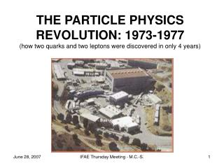 THE PARTICLE PHYSICS REVOLUTION: 1973-1977 (how two quarks and two leptons were discovered in only 4 years)