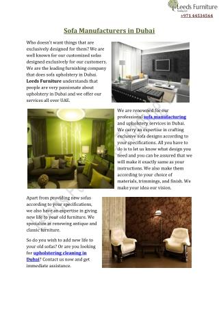 Sofa Manufacturers in Dubai