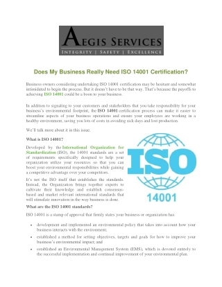 Does My Business Really Need ISO 14001 Certification?
