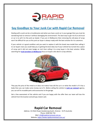 Say Goodbye to Your Junk Car with Rapid Car Removal