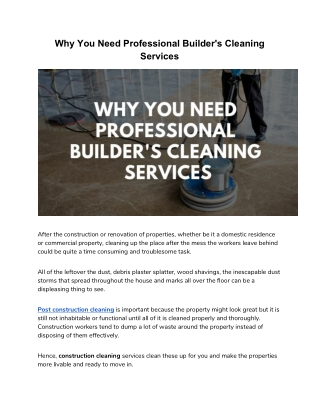 Reasons One Should Hire Only Expert Builder Clean Services