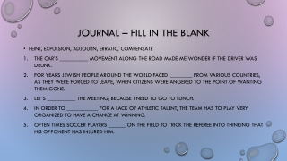 Journal – Fill in the blank