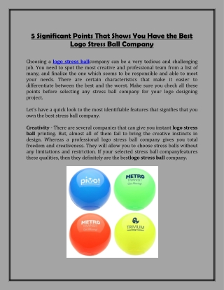 5 Significant Points That Shows You Have the Best Logo Stress Ball Company