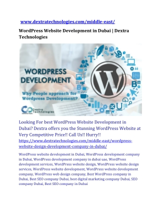 WordPress Website Development in Dubai | Dextra Technologies