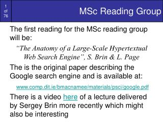 MSc Reading Group