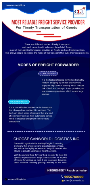 Most Reliable Freight Service Provider