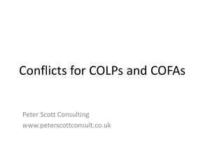 COLP and COFA - getting started