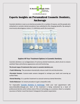 Experts Insights on Personalized Cosmetic Dentistry Anchorage