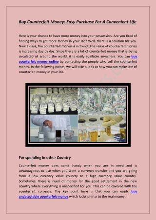 Buy Counterfeit Money: Easy Purchase For A Convenient Life