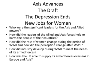 Axis Advances The Draft The Depression Ends New Jobs for Women