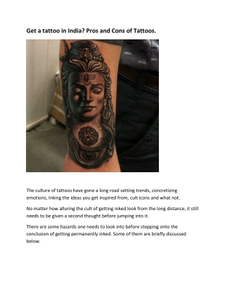 Get a tattoo in India? Pros and Cons of Tattoos.