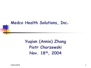 Medco Health Solutions, Inc .