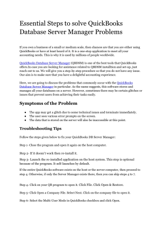 Essential Steps to solve QuickBooks Database Server Manager problem